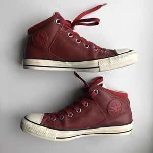 Converse Chuck Taylor Red Leather High Tops Boot